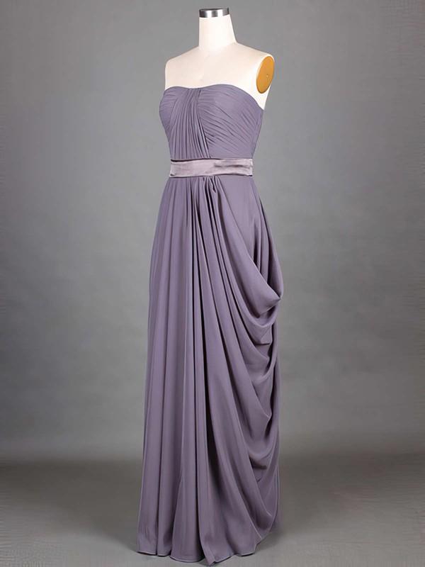 Exclusive Chiffon Sashes/Ribbons Strapless Grape A-line Bridesmaid Dresses #JCD01012417