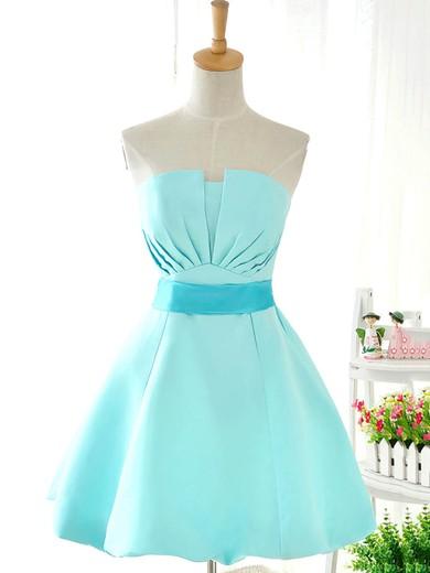 Strapless Blue Satin with Sashes/Ribbons Original Short/Mini Bridesmaid Dresses #JCD01012419