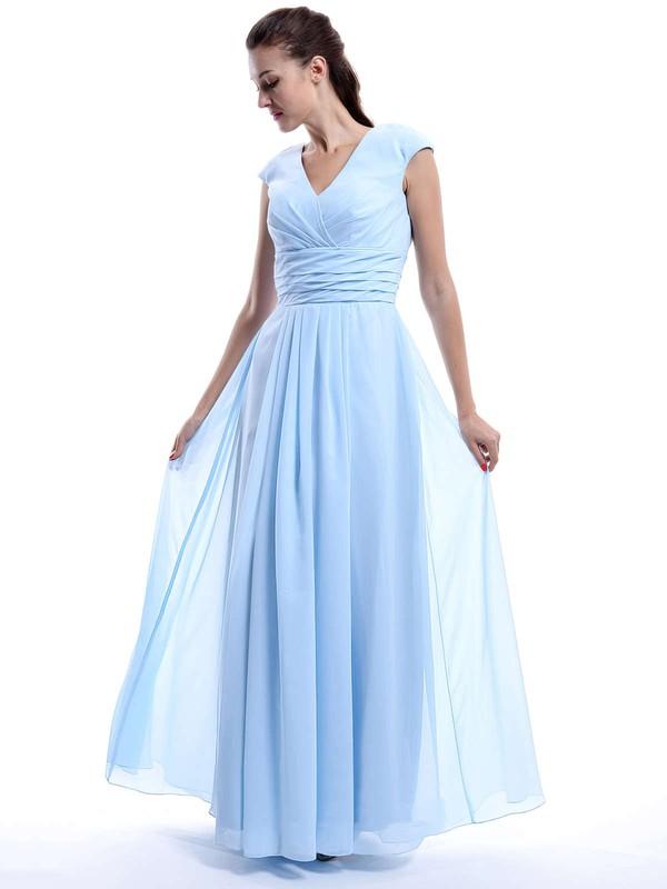 Nicest A-line Chiffon Cap Straps Ruffles V-neck Light Sky Blue Bridesmaid Dress #JCD01012423