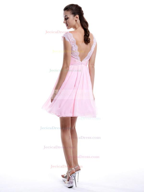 V-neck Pearl Pink Chiffon Lace A-line Modest Bridesmaid Dress #JCD01012424