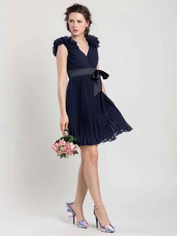 Short/Mini Chiffon Sashes/Ribbons V-neck Different Dark Navy Bridesmaid Dresses #JCD01012454