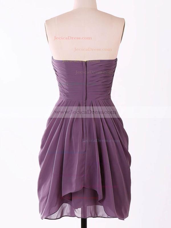 Popular Sweetheart Chiffon Flower(s) Grape Short/Mini Bridesmaid Dresses #JCD01012457