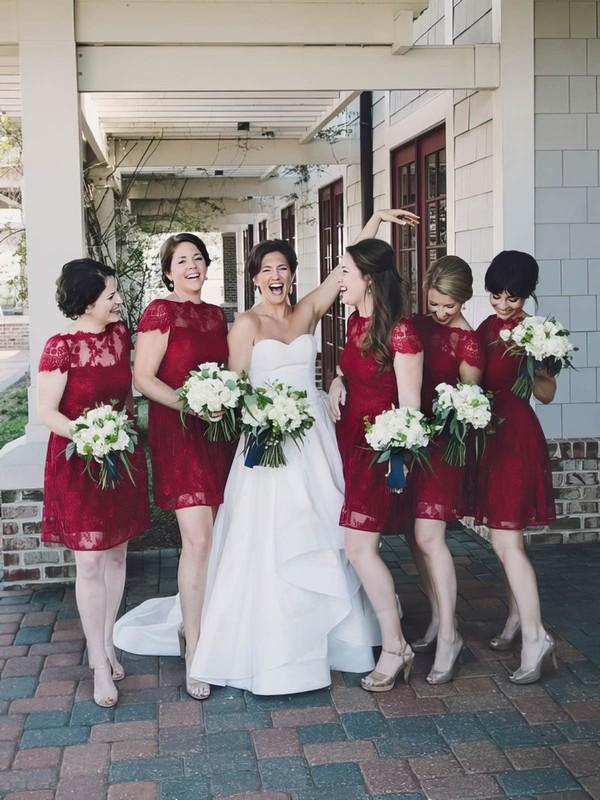 Beautiful Short Sleeve Scoop Neck Short/Mini Burgundy Lace Bridesmaid Dresses #JCD01012465