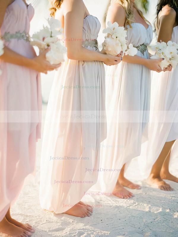 High Low Chiffon Beading Informal Asymmetrical Pearl Pink Bridesmaid Dress #JCD01012469