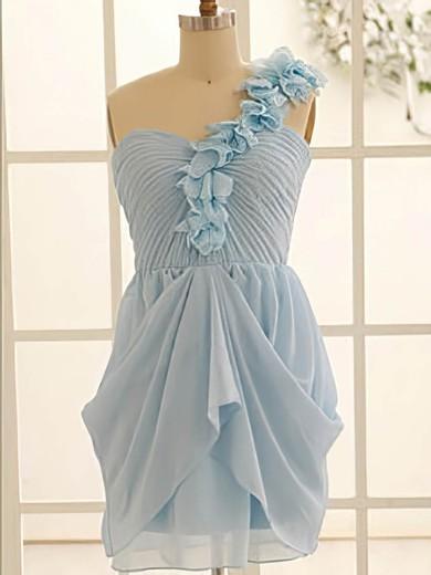 One Shoulder Light Sky Blue Chiffon Flower(s) A-line Bridesmaid Dress #JCD01012471