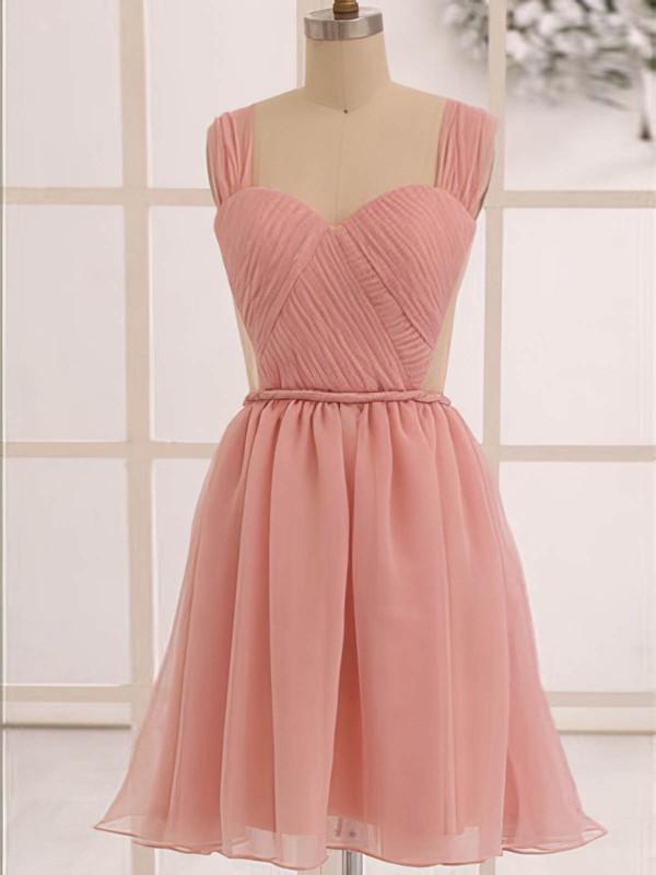 Discount Knee-length Ruffles Open Back Chiffon Sweetheart Bridesmaid Dress #JCD01012473