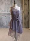Nice One Shoulder Short/Mini Chiffon Flower(s) A-line Bridesmaid Dress #JCD01012476