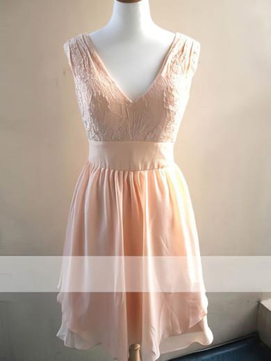 Knee-length Chiffon Sashes / Ribbons Lace V-neck Bridesmaid Dress #JCD01012478