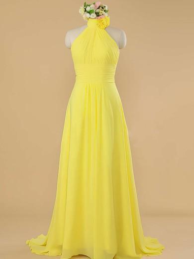 Sweep Train Pretty Yellow Chiffon Ruffles Halter Bridesmaid Dress #JCD01012482