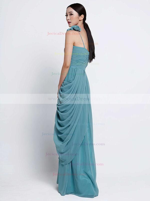 Gorgeous Sheath/Column Chiffon Cascading Ruffles One Shoulder Bridesmaid Dress #JCD01012486