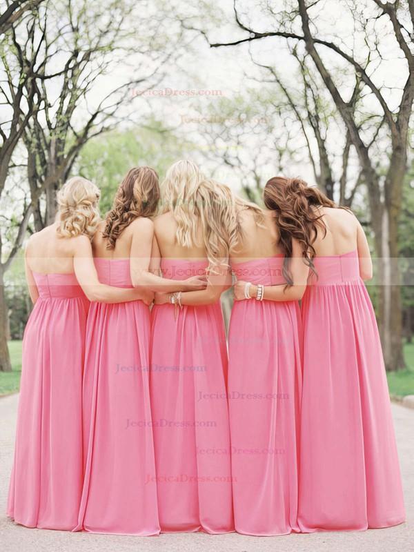 Empire Pearl Pink Chiffon Flower(s) Floor-length Popular Bridesmaid Dresses #JCD01012487