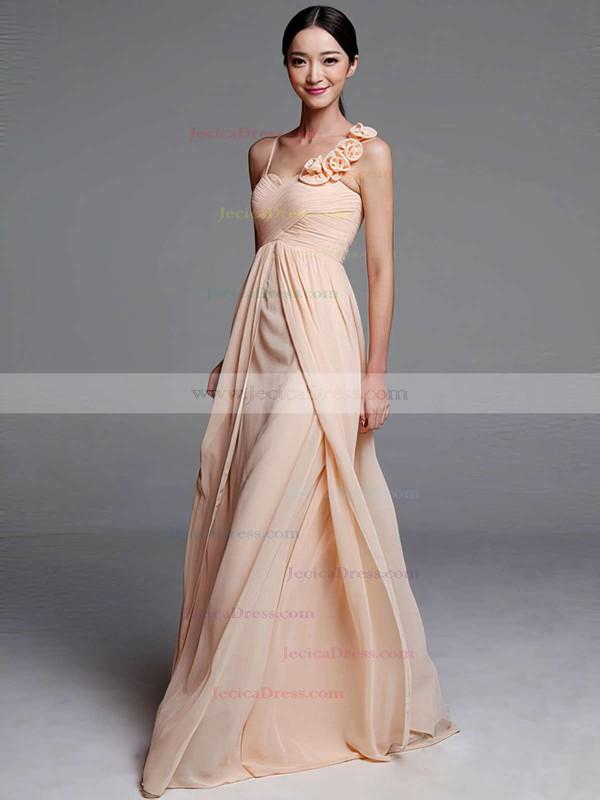 Sheath/Column Chiffon Flower(s) Nicest Sweetheart Bridesmaid Dresses #JCD01012489