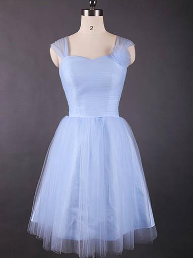 Good Knee-length Light Sky Blue Tulle Ruffles Sweetheart Bridesmaid Dresses #JCD01012498