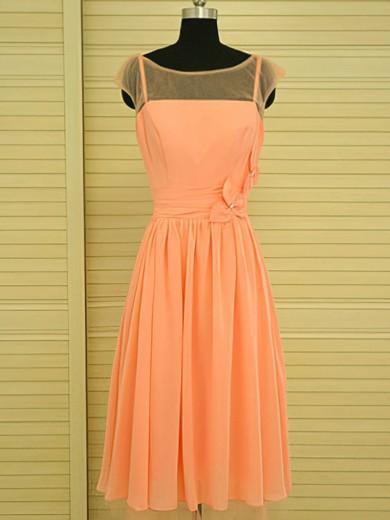 Scoop Neck Knee-length Flower(s) Orange Chiffon Nice Bridesmaid Dress #JCD01012499