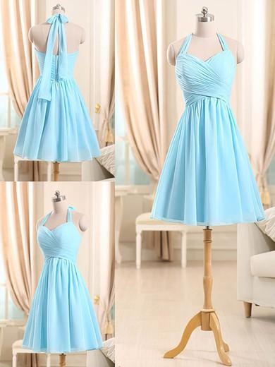 Best Light Sky Blue Chiffon Ruffles Short/Mini Halter Bridesmaid Dresses #JCD01012510