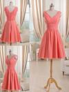 V-neck Short/Mini Watermelon Pleats Chiffon Elegant Bridesmaid Dress #JCD01012511