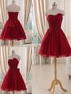Burgundy Tulle Short/Mini Flower(s) Strapless Bridesmaid Dresses #JCD01012514