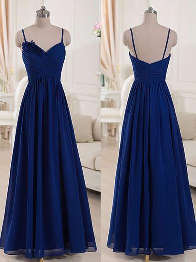V-neck Royal Blue Chiffon Spaghetti Straps Ruffles Floor-length Bridesmaid Dresses #JCD01012518