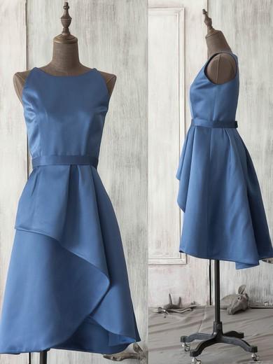 Scoop Neck Dark Navy Satin Sashes/Ribbons Knee-length Bridesmaid Dress #JCD01012521