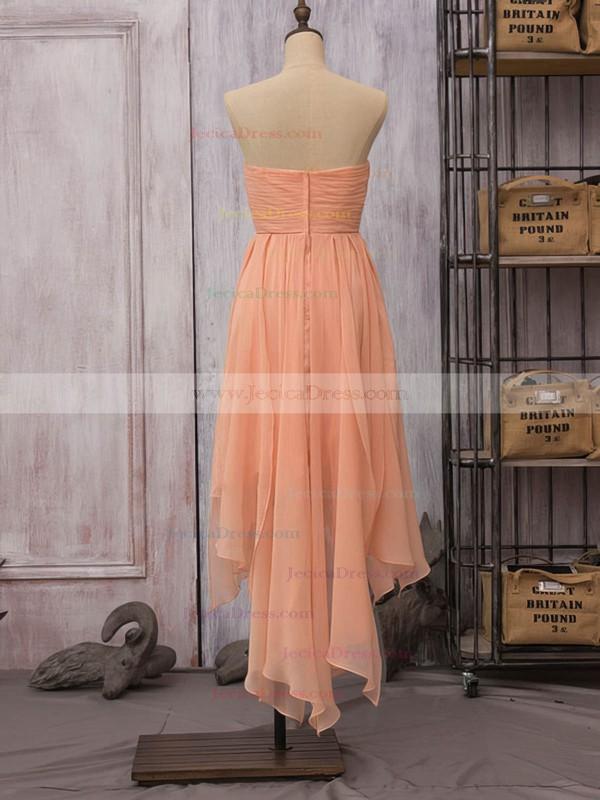 Strapless High Low Orange Chiffon Ruffles Sheath/Column Bridesmaid Dress #JCD01012523