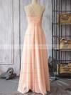 Pearl Pink Chiffon Spaghetti Straps Sheath/Column V-neck Bridesmaid Dress #JCD01012524