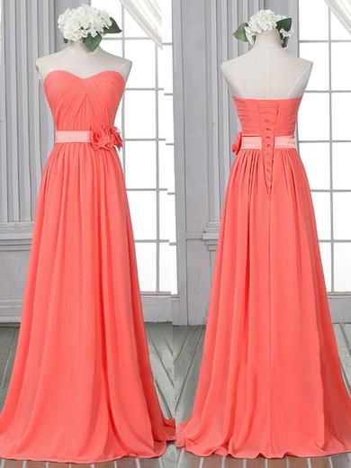 Sheath/Column Flower(s) Lace-up Watermelon Chiffon Sweetheart Bridesmaid Dress #JCD01012526