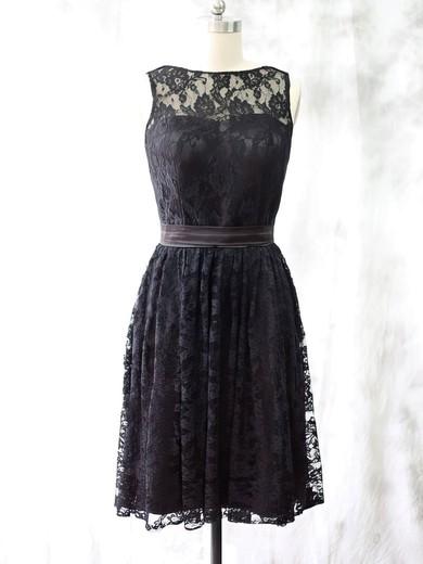 Ladies Black Lace Knee-length Sashes/Ribbons Scoop Neck Bridesmaid Dress #JCD01012527