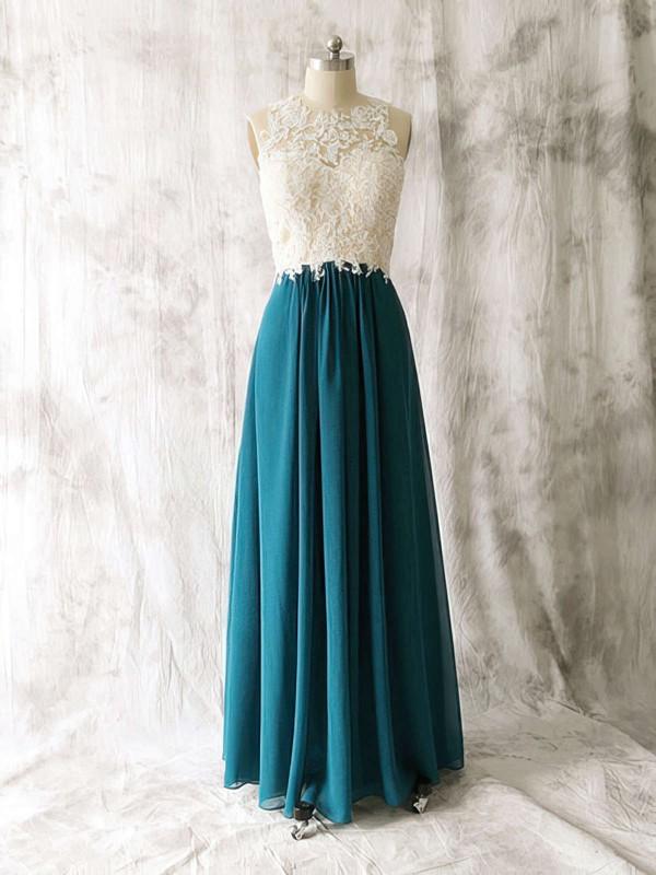 Amazing Multi Colours Chiffon Tulle Appliques Lace Scoop Neck Open Back Bridesmaid Dress #JCD01012529