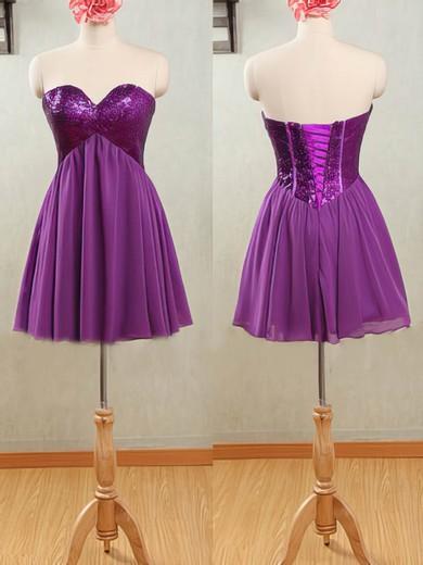 Sweetheart Purple Chiffon Sequined Lace-up Short/Mini Bridesmaid Dresses #JCD01012532