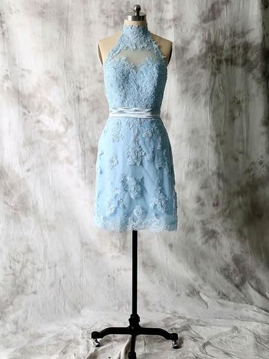 Sheath/Column Lace Tulle Appliques Short/Mini High Neck Bridesmaid Dresses #JCD01012538