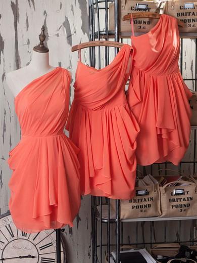 Popular One Shoulder Ruffles Sheath/Column Watermelon Chiffon Bridesmaid Dresses #JCD01012540