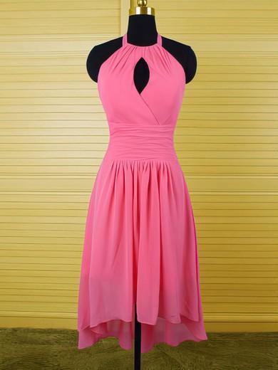 Nice Halter Ruffles High Low Fuchsia Chiffon Sheath/Column Bridesmaid Dress #JCD01012541