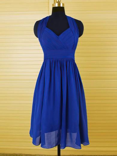 Hot Halter Royal Blue Chiffon Ruffles Knee-length Bridesmaid Dress #JCD01012544