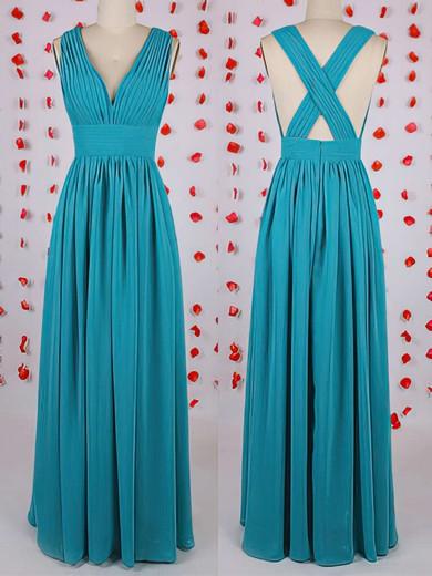 New V-neck Pleats Floor-length Blue Chiffon Bridesmaid Dress #JCD01012549