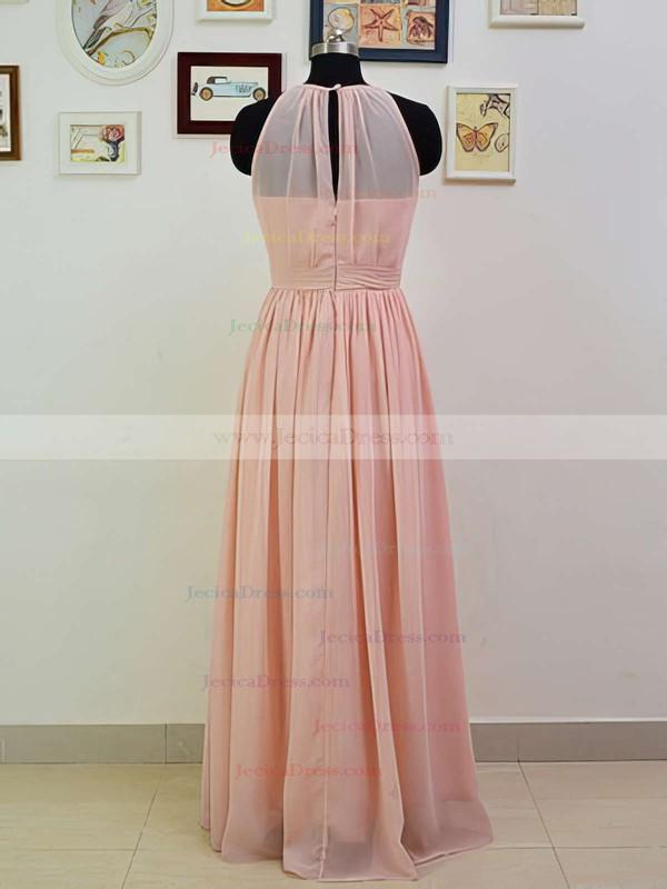 Top Scoop Neck Ruffles Pink Chiffon Floor-length Bridesmaid Dresses #JCD01012551