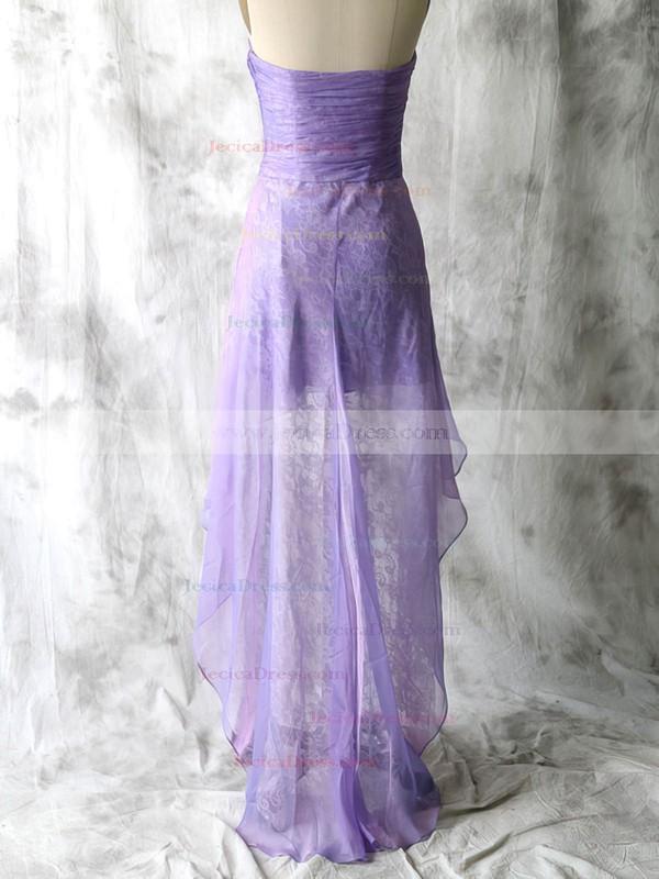 Nice Lace Chiffon Sweetheart Sheath/Column Lavender Bridesmaid Dresses #JCD01012552