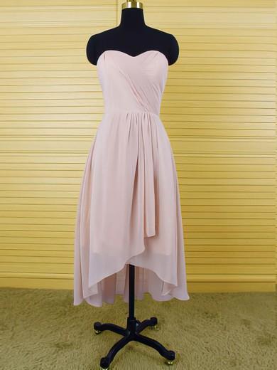 Sweetheart Asymmetrical Chiffon Ruffles High Low Bridesmaid Dresses #JCD01012553
