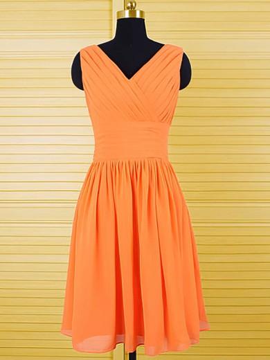 Best V-neck Ruffles Knee-length Orange Chiffon Bridesmaid Dresses #JCD01012556