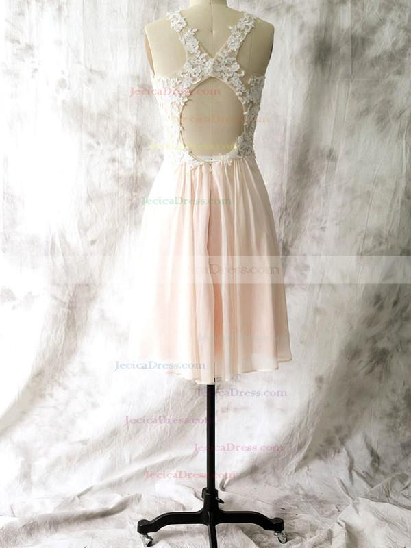 Sheath/Column Chiffon Appliques Lace Open Back Short/Mini Bridesmaid Dresses #JCD01012558