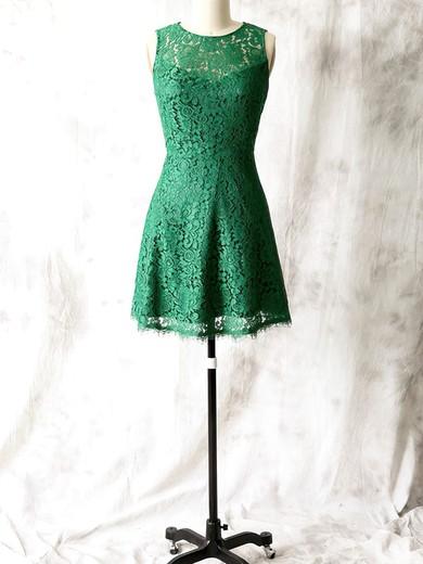 Open Back Elegant Lace Sheath/Column Scoop Neck Green Bridesmaid Dress #JCD01012561