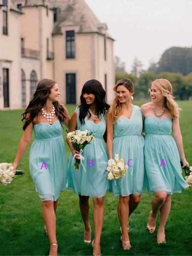 Short/Mini Light Sky Blue Chiffon Ruffles Sweetheart Best Bridesmaid Dress #JCD01012563