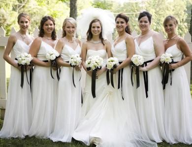 V-neck White Chiffon with Sashes/Ribbons Spaghetti Straps A-line Bridesmaid Dress #JCD01012566
