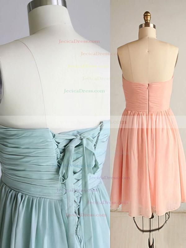Online Pink Chiffon Ruffles Lace-up Sweetheart A-line Bridesmaid Dress #JCD01012569