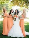 Sheath/Column Orange Chiffon with Ruffles Ladies Sweetheart Bridesmaid Dresses #JCD01012572