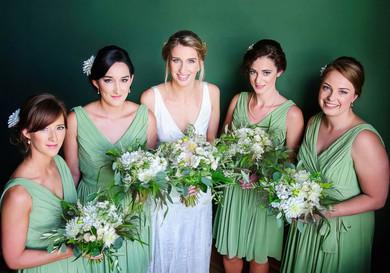 Knee-length Sage Chiffon with Ruffles Gorgeous V-neck Bridesmaid Dresses #JCD01012573