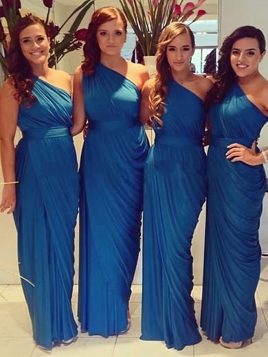 For Cheap Chiffon Ruched One Shoulder Sheath/Column Bridesmaid Dresses #JCD01012578