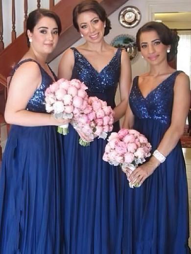 Empire V-neck Chiffon Sequined Ruffles Inexpensive Bridesmaid Dresses #JCD01012579