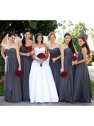 Empire Gray Chiffon Ruffles Sweetheart Nice Bridesmaid Dress #JCD01012586