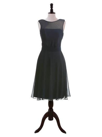 Dark Navy Chiffon with Sashes/Ribbons Tea-length Open Back Bridesmaid Dresses #JCD01012604