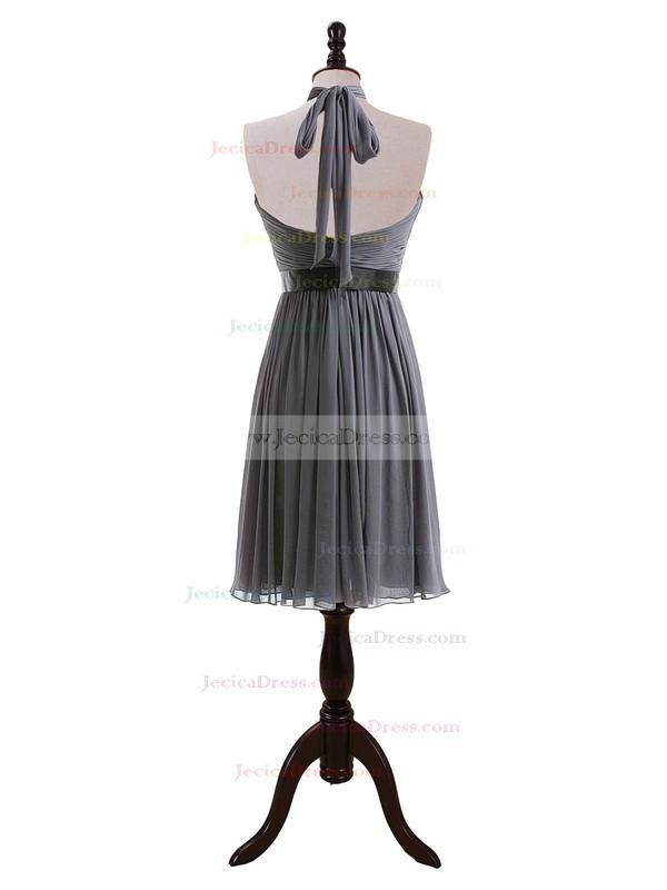 Halter Backless Gray Chiffon Sashes/Ribbons Knee-length Bridesmaid Dresses #JCD01012608